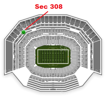 The GREEN DOT indicates the location of your seats.