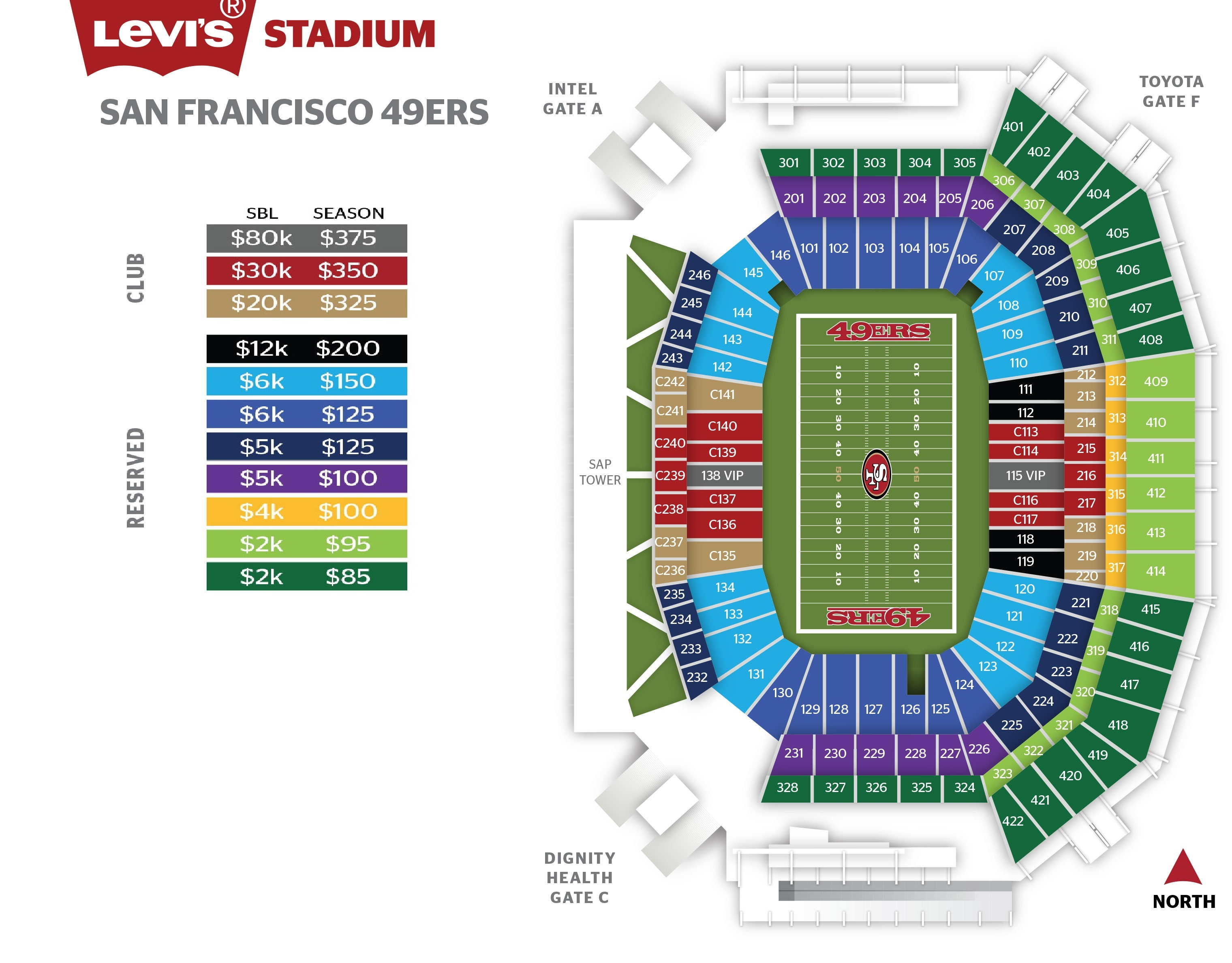 49ers seating chart and prices